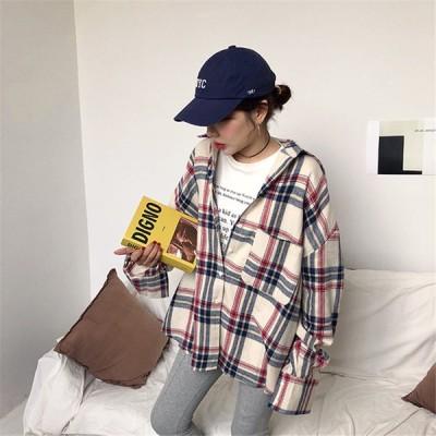 春秋新品発売韓国ファッション CHIC気質 おしゃれな ゆったりする チェック柄 シャツ トップス