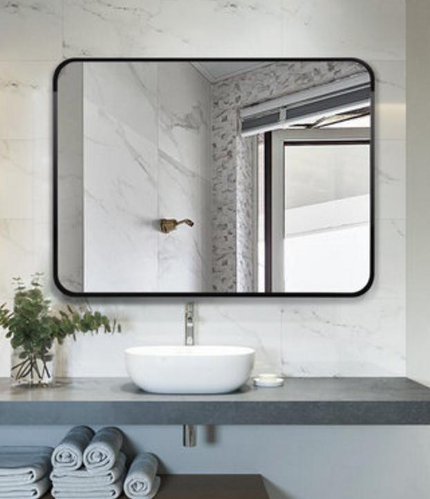 方鏡 鏡子 浴室鏡 75*100cm 北歐方形玄關裝飾鏡 美式浴室鏡歐式衛生間壁掛鏡臥室梳妝鏡化妝鏡