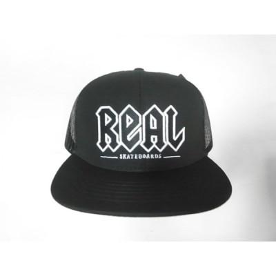 REAL SKATEBOARDS リアル DEEDS 刺繍ロゴ トラッカー メッシュキャップ 黒 ブラック
