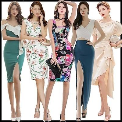 ワンピース韓国ファッションOL正式な場合礼装ドレスセクシーなワンピース一字肩二点セット