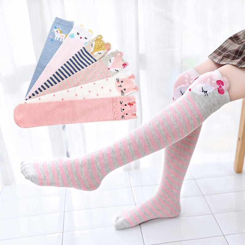 兒童卡通可愛長筒襪 女童動物中長筒襪子 棉襪 中大童百搭直板童襪【IU貝嬰屋】
