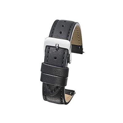 本革 セミパッドステッチ 腕時計バンド (手首サイズ6-7 1/2インチ) - ブラック、ブラウン - 22mm、24mm 22mm ブラック好評販売中