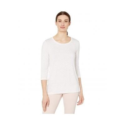Tribal トリバル レディース 女性用 ファッション Tシャツ 3/4 Sleeve Top - White