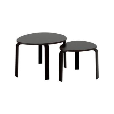 IKEA(イケア) SVALSTA ネストテーブル2点セット, ブラックブラウンステイン (80280695)