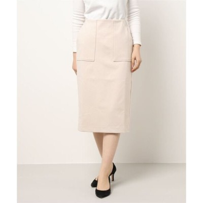 スカート ・カットツイルポケットナロースカート*