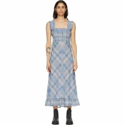 ガニー GANNI レディース ワンピース ワンピース・ドレス Blue Seersucker Check Long Dress Heather