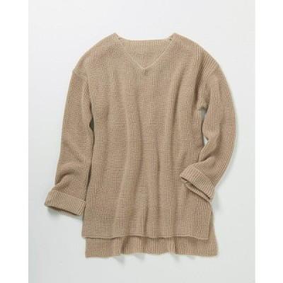ゆったり軽やかVネックセーター ベージュ M