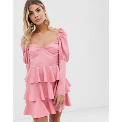 インザスタイル ミニドレス レディース In The Style off shoulder tiered mini dress in pink エイソス ASOS ピンク