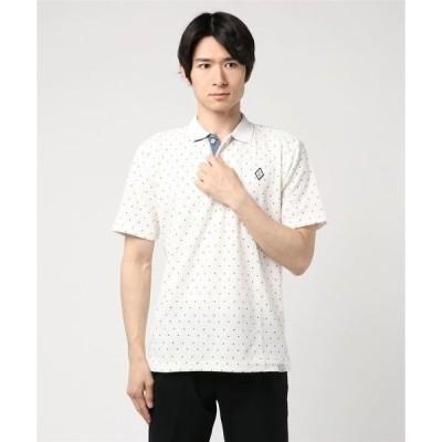 ポロシャツ ドライMIXスラブカノコドット柄2ボタン半袖ポロシャツ
