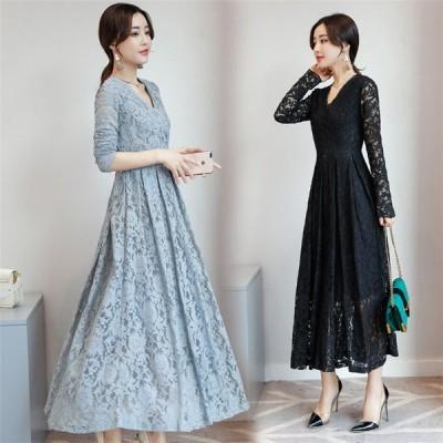 ワンピース 韓国 ファッション レディース 20代 30代 40代 50代 エレガント 秋 Vネック レース 冬 スリム ロングスカート