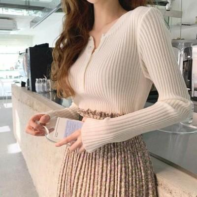 レディース ニット/セーター Stretchy Yeori Line Ribbed Knitwear Tee