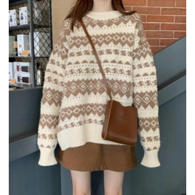 韓国 ファッション レディース ニット セーター トップス ノルディック 起毛 長袖 ゆったり 大人可愛い カジュアル 秋冬