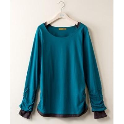 Tシャツ カットソー 大きいサイズ レディース 袖脇シャーリング フェイク レイヤード シャツ カーキ系/チャコール系/ブルーグリーン系/ブ