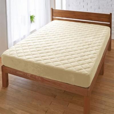 パッド一体型ベッドシーツ(マイクロフリース)/アイボリホワイト/セミダブル(120×200×高さ25)