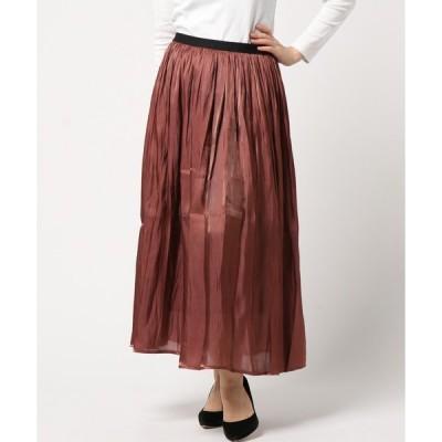 スカート 皺加工サテン ロングスカート