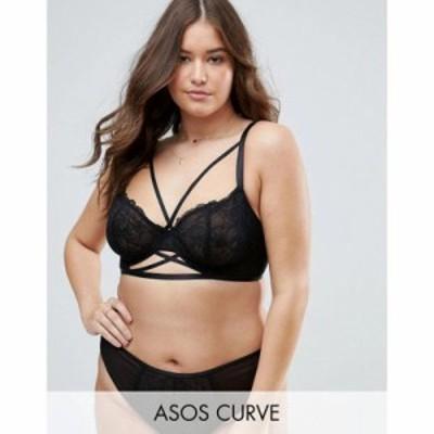 エイソス ブラジャーのみ ASOS CURVE Becca Strappy Lace Underwire Bra Black