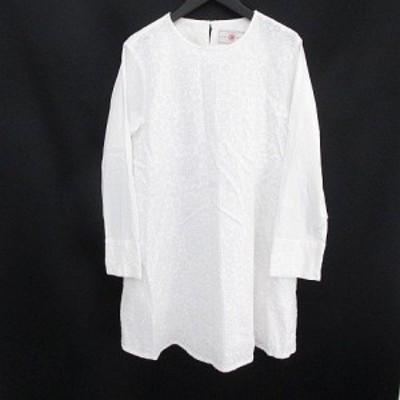 【中古】ピュアルセシン pual ce cin 長袖 膝上 ミニ フレアワンピース 白系 ホワイト 刺繍 シースルー 透け感 切替