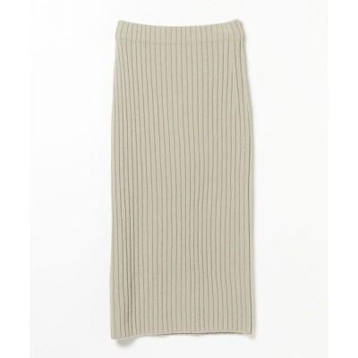 スカート Demi-Luxe BEAMS / ワイドリブ ロングスカート