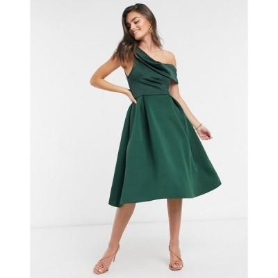 エイソス レディース ワンピース トップス ASOS DESIGN drape fallen shoulder prom midi dress in forest green Forest green