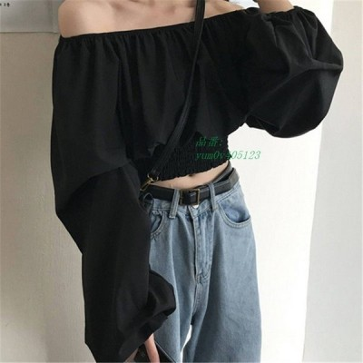 オフショル トップス 無地 シャツ オルチャン ショート丈 きれいめ ブラウス シンプル 韓国 ストリート 大人 原宿系 長袖
