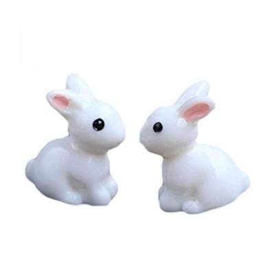 積み木 Outflower 2Pcs Micro-landscape Ornaments Mini White Rabbit