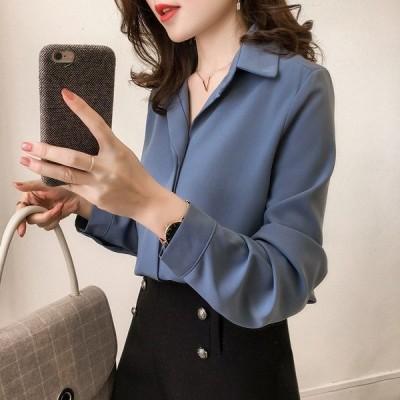 ブラウスレディースオフィス長袖襟付きvネックシフォン大きいサイズきれいめ春夏秋トップス通勤おしゃれゆる20代30代