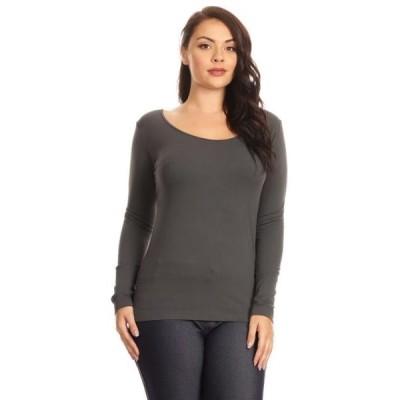 ユニセックス 衣類 トップス Lady's scoop Seamless Long Sleeve Top - Charcoal Plus Size ブラウス&シャツ