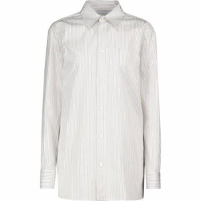 ボッテガ ヴェネタ Bottega Veneta レディース ブラウス・シャツ トップス Striped cotton shirt White/Brown