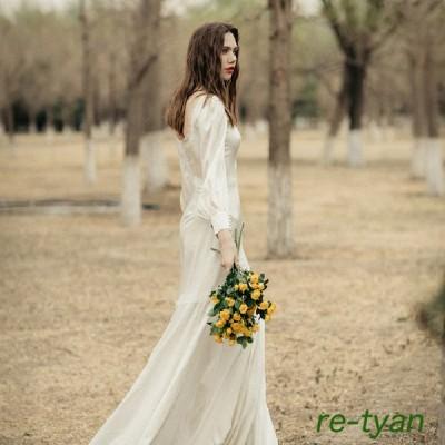 ウェディングドレスエンパイアラインスレンダーロングワンピース白撮影二次会前撮り後撮りフォトウエディング 披露宴結婚式 ガーデンフォトかわいい おしゃれ