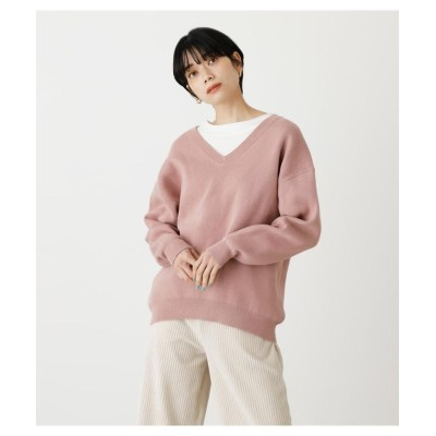 (AZUL by moussy/アズールバイマウジー)SWEATTER V/N KNIT TOPS/レディース L/PNK1