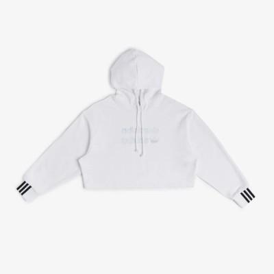 Adidas/アディダス adidas レディース パーカー フーディー ホワイト CROPPED HOODIE FM2483-100
