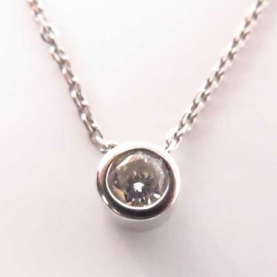 送料無料 ダイヤモンドネックレス pt900&pt850 プラチナ 2.6g (ダイヤ0.13ct) 【中古】