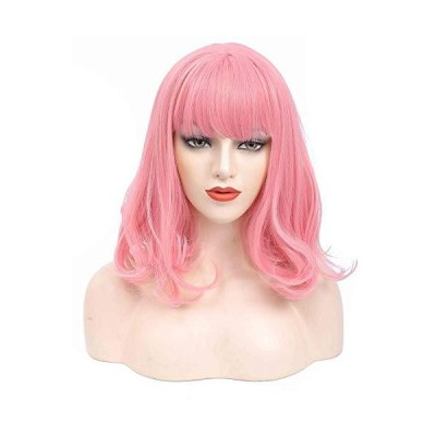 Pink Wigs For Women Short Pink Bob Wig With Bangs Pastel Curly Bob Synthetic Cosplay Wig For Girl Colorful Party Costume Wigs