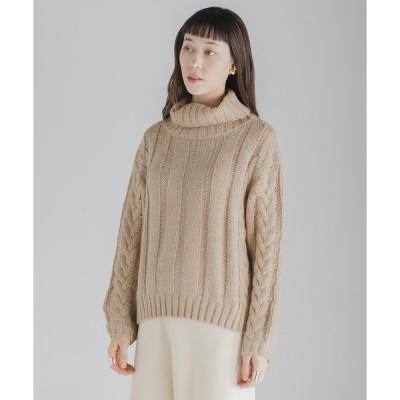 ニット ケーブルタートルネックセーター