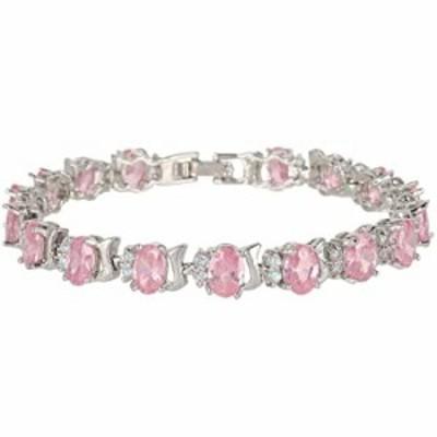 EVER FAITH Women's Full Zircon Oval Roman Graceful Tennis Bracelet Light Pink Silver-Tone