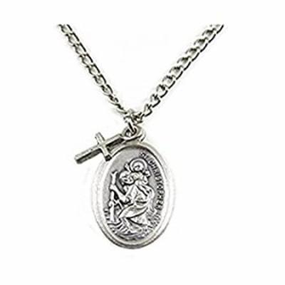 PlanetZia Creations St. Christopher Patron Saint of Travel Medallion Necklace with Cross Dangle TVT-SCH-1