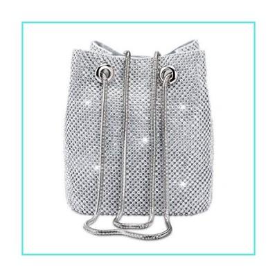 【新品】Women Rhinestones Crystal Clutch Evening Bags Bucket Bag Party Prom Wedding Shoulder Cross-body Purses (Silver)(並行輸入品)