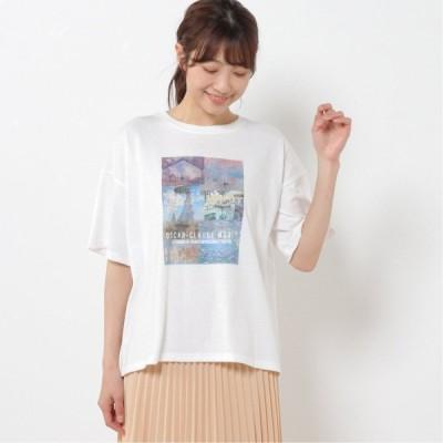 アートプリントワイドTシャツ オフホワイト M L