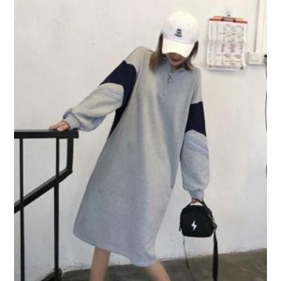 オルチャン 韓国 ファッション スウェット ワンピース ひざ丈 ドルマン ハイネック ゆったり ボリューム袖 長袖 カジュアル