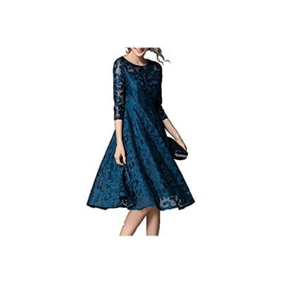 [ピオニー ドリーム] ワンピース ドレス 総 レース ひざ 丈 七分袖 レディース (XL, 深緑)