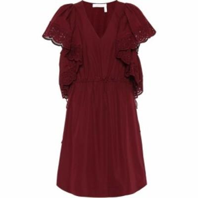 クロエ See By Chloe レディース ワンピース ワンピース・ドレス Lace-trimmed cotton dress Burgundy