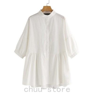 シャツトップス長袖シャツシャツブラウスブラウスレディースプルオーバー長袖無地シンプル綿コットン体型カバーゆったりファッション30代40代