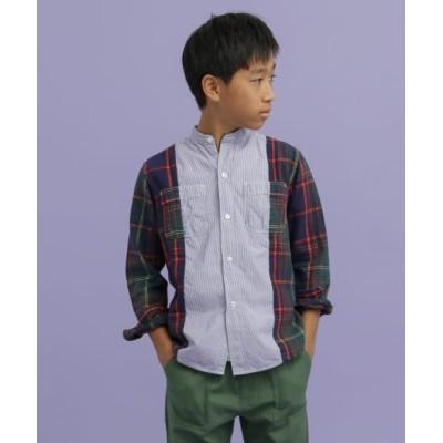 (URBAN RESEARCH DOORS(Kids)/アーバンリサーチ ドアーズ キッズ)DENIM DUNGAREE スイスコットンロンストワークシャツ(KIDS)/キッズ ネイビー
