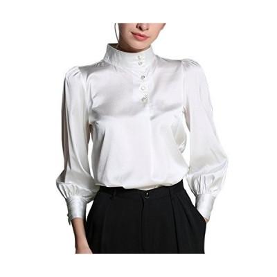 (MAYUDAMAシルク)高級シルク 19匁 弾性シルク シルクシャツ ブラウス ビショップスリーブ ランタンスリーブ シン?