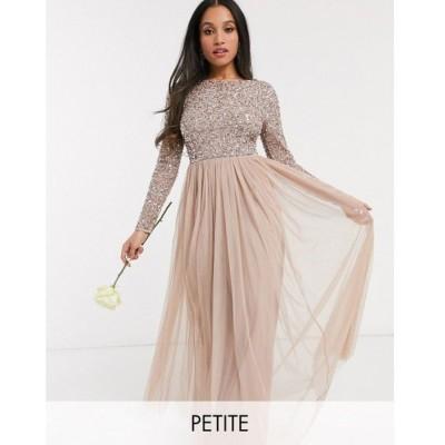 マヤ Maya Petite レディース ワンピース マキシ丈 Bridesmaid long sleeve v back maxi tulle dress with tonal delicate sequin in taupe blush トープ