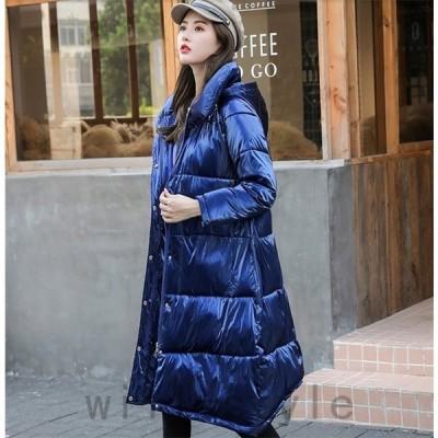 ダウンジャケット中綿ダウンコート冬物冬服ロング丈コートレディース暖かいフード付ききれいめロングコート軽量大きいサイズAlohaMahalo