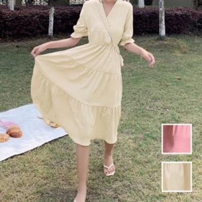 韓国 ファッション レディース ワンピース 春 夏 秋 新作 カジュアル naloI620  ギャザーディテール ティアード Aライン シンプル コーデ