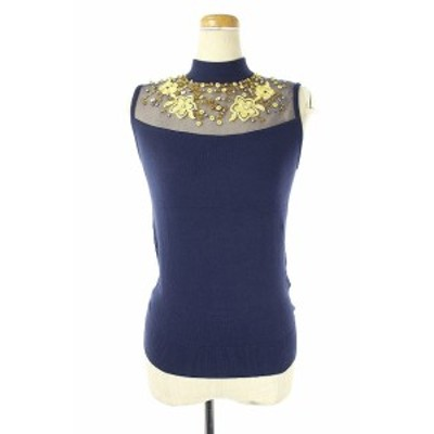 【中古】スナイデル snidel 刺繍ビジュー装飾ノースリーブニット F 紺 /YS ■OS レディース