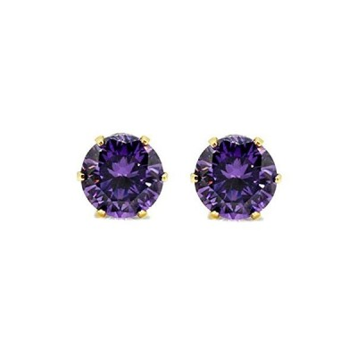 Efulgenz 18k Yellow Gold Plated Solitaire AAA Cubic Zirconia CZ Stud Daily Wear Earrings Jewelry for Girls and Women Gift for Her【並行