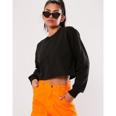 ミスガイデッド レディース パーカー・スウェットシャツ アウター Missguided basics long sleeve cropped sweatshirt in black Black